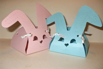 Bunny Rabbit Favour Box Pink or Blue Shimmer Card